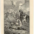 William the Conqueror Stricken Down by his Son Robert, 108 year old original antique print