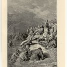 Richard Forces a Landing at Acre, 108 year old original antique print