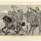Lord James of Douglas Slain by the Saracens, 108 year old original antique print
