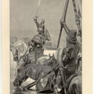 Edward III. Crossing the Somme, 108 year old original antique print