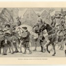 Edward VI. Entering London in his Coronation Procession, 108 year old original antique print