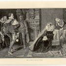 Mary Queen of Scots in Prison, 108 year old original antique print