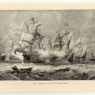 "The ""Vanguard"" Attacking the Spanish Armada, 108 year old original antique print"
