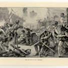 "The Last Fight of the ""Revenge"", 108 year old original antique print"