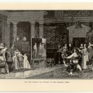 Van Dyke Painting the Portrait of King Charles' Family, 108 year old original antique print