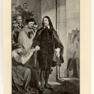 The Death of Charles I, 108 year old original antique print