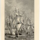 Blake's Naval Victory over Van Tromp, 1653, 108 year old original antique print