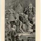 Cromwell Taking the Oath as Lord Protector, 108 year old original antique print