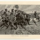 Ramillies - The Cavalry Charge under Marlborough, original antique print