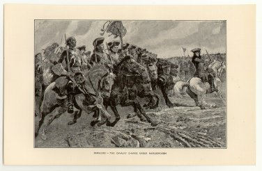 Ramillies - The Cavalry Charge under Marlborough, original antique print