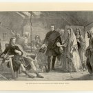 The Meeting of Flora Macdonald and Prince Charlie Stuart, 108 year old original antique print