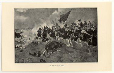 The Battle of Dettingen, original antique print