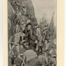 General Wolfe Climbing the Heights of Quebec, original antique print
