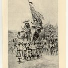 Tippoo Saib Leading his Troops to the Defence of Seringapatam, original antique print
