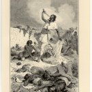The Death of King Theodore of Abyssinia, original antique print