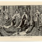 King Edward VII and Queen Alexandra Opening Parliament, 1901, original antique print