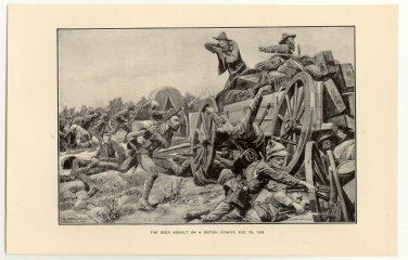 The Boer Assault on a British Convoy, February 25, 1902, original antique print