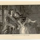 Cromwell's Daughter Begs Him to Refuse the Crown, original antique print