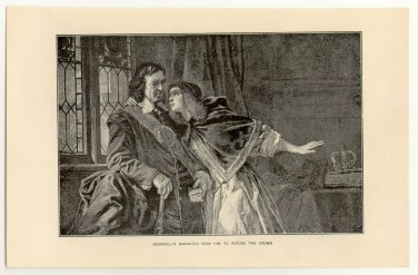 Cromwell�s Daughter Begs Him to Refuse the Crown, original antique print