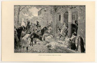Attila�s Huns Plundering a Roman Villa in Gaul, original antique print