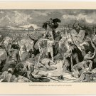 Thorismund Crowned on the Field of Battle at Chalons, original antique print