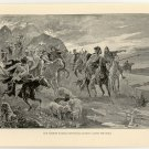 The Hunnish Raiders Retreating before Ludwig the Child, original antique print
