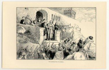 The Coronation of Conrad I, original antique print