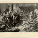Otto the Great and his Brother Thankmar, original antique print
