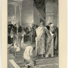 Otto Pardoning his Brother Henry in Frankfort Cathedral, original antique print