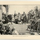 Henry II Received at the Great Cathedral in Aix, original antique print
