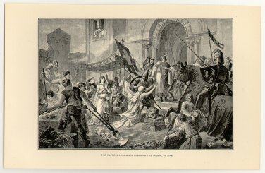 The Empress Cunegunde Enduring the Ordeal by Fire, original antique print