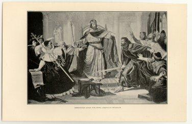 Barbarossa Saves the Papal Legate at Besancon, original antique print