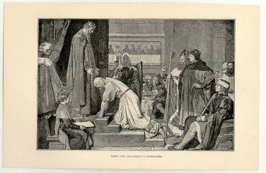 Henry the Lion Kneels to Barbarossa, original antique print