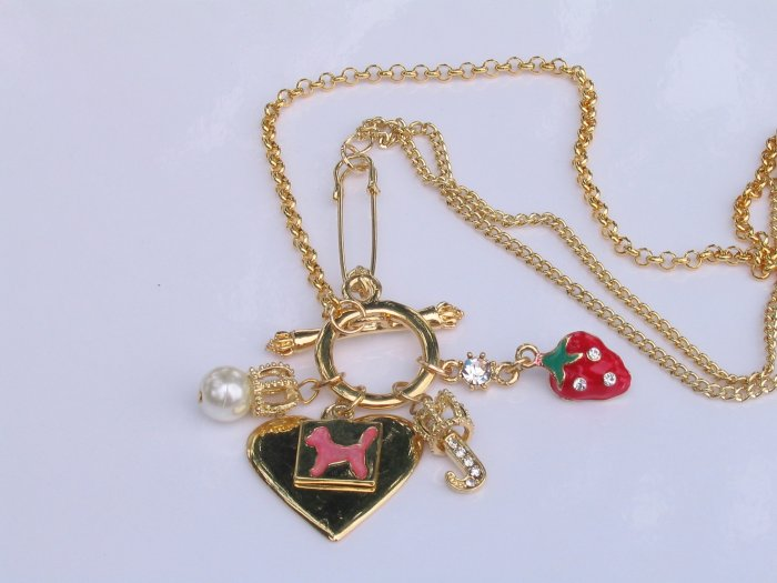 JN01 Juicy Couture Inspired GoldTone  Charm Necklace wholesale price $8.99