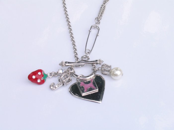 JN02 Juicy Couture Inspired Strawberry Crown Name Tag Charm Necklace wholesale price $8.49
