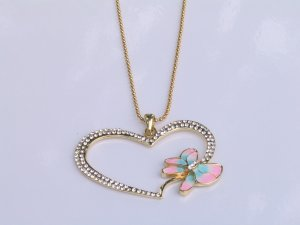 JN05 GlodTone  Big Heart and Dragonfly Necklace wholesale price $9.99