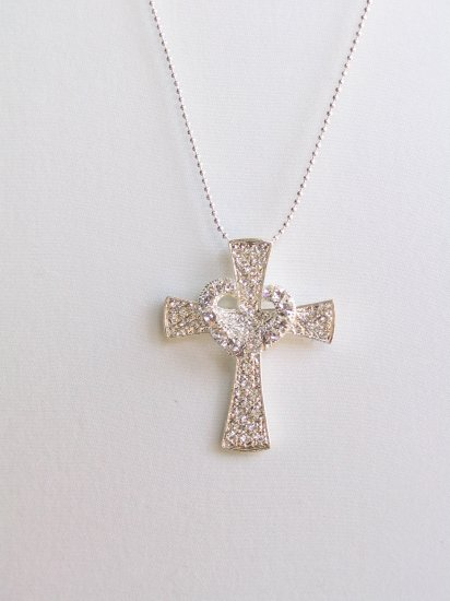 CS02 Unique Design Crystal Heart Cross wholesale price $7.99