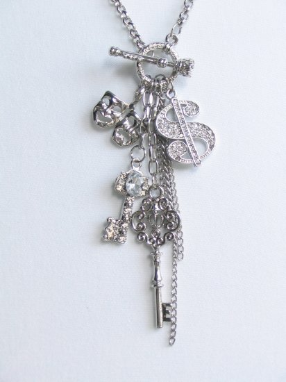JN06 Laugh Cry Mask crystal Key $ charm Necklace wholesale price $6.29