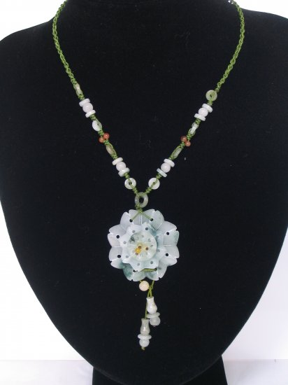 YUN01 Triple Layers Floral Jade Necklace