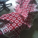 Twin Red and White Afghan