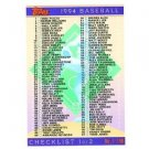 1994 Topps #395 Checklist 1-198