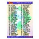 1994 Topps #396 Checklist 199-396