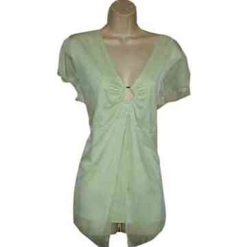 Beautiful Light Green Split Sleeve ORing Top 2X