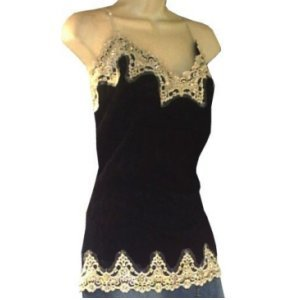 Sexy Women's Plus Size Black with Ivory Lace Top 2X