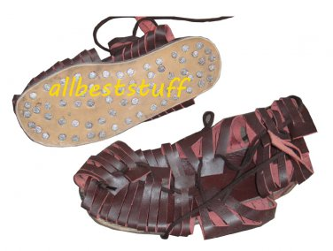 High Quality Medieval Leather Sandal Cherry Brown