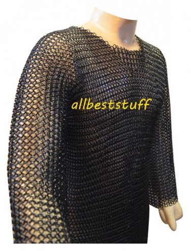 MS Chainmail Butted Shirt with Blackend Coating Meduim SCA Chain Mail Armor