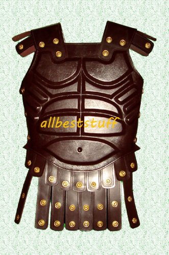 Body Muscle Armor Breastplate Armor Genuine Leather Armour Dark Brown with Belt