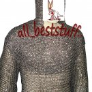 Chain Mail Shirt Round Riveted with Coif Chainmail Full Riveted Shirt Large