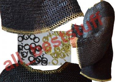 MS Chain Mail Chainmail Shirt Flat Rivet with Flat Washer  Hauberk Brass
