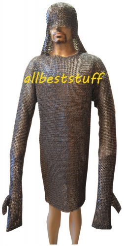 Chain Mail Shirt Flat Riveted with Flat Solid Ring Integrated Coif & Mittens 8mm